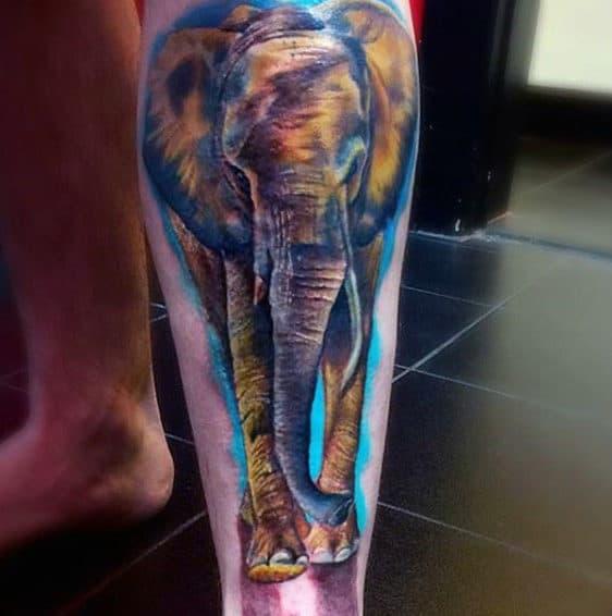Guys Calves Copper Shaded Elephant Tattoo