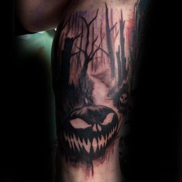 Guys Calves Dry Forest And Halloween Pumpkin Tattoo
