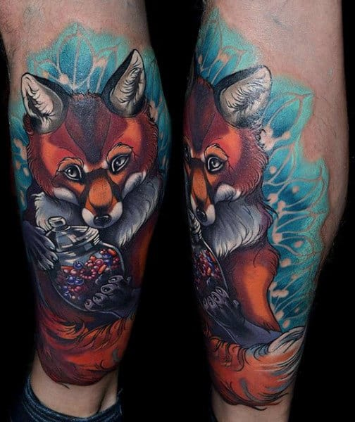 Guys Calves Fox With A Jar Tattoo