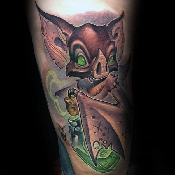Guys Calves Green Eyed Goblin Halloween Tatto