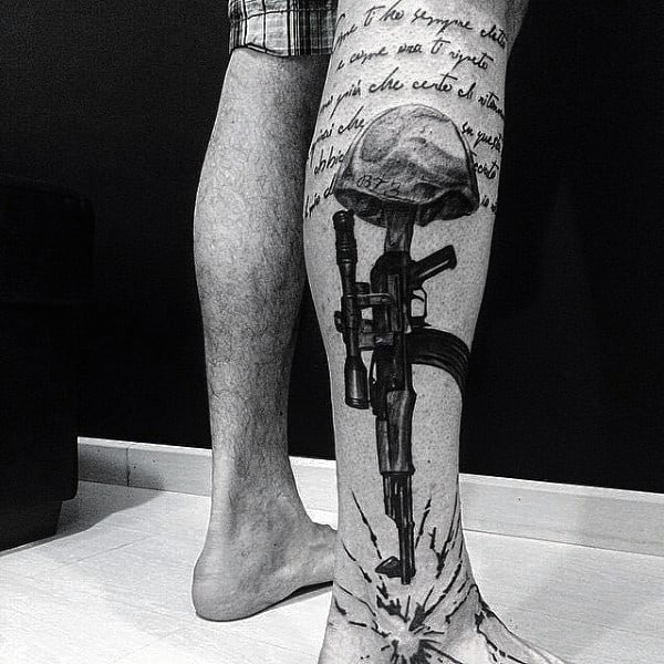 Guys Calves Grey Ak 47 Tattoo