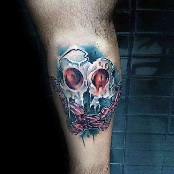 Guys Calves Hollow Eyes Bacon Tattoos