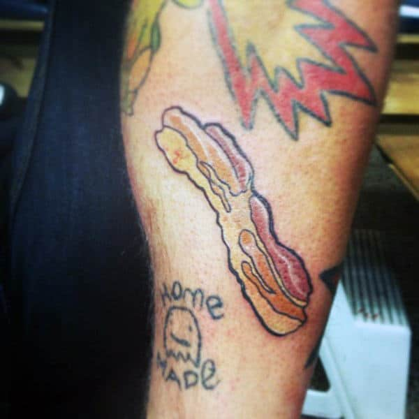 Guys Calves Home Made Bacon Tattoo