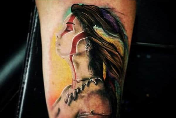 Guys Calves Native American Girl With Pretty Hair Tattoo