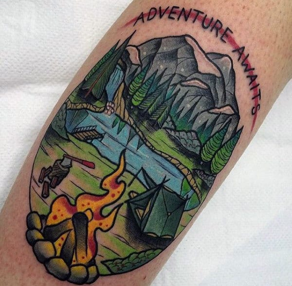 Guys Camp Fire Adventure Awaits Forearm Tattoo