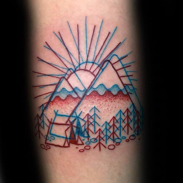 Guys Camping 3d Red And Blue Ink Forearm Tattoo