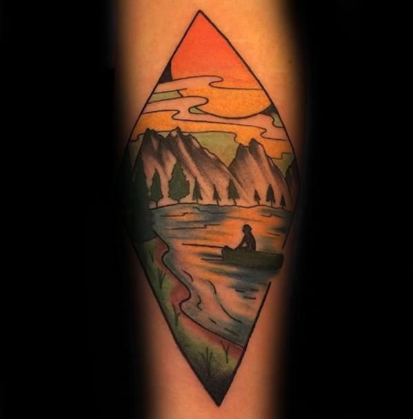 Guys Canoe Forearm Tattoo Design Ideas