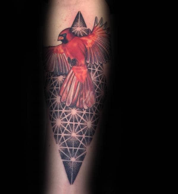 Guys Cardinal Bird Geometrical Pattern Tattoo On Forearm