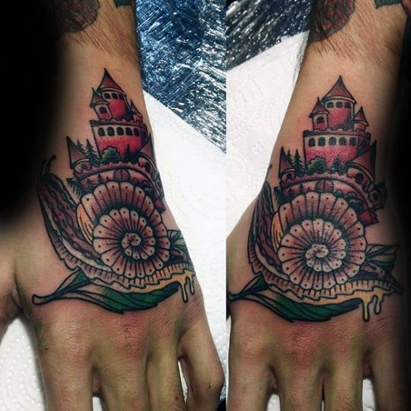 Guys Castle With Snail Tattoo Deisgns On Hand
