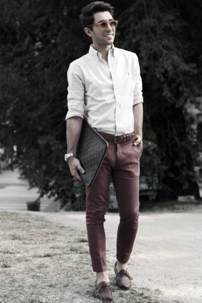 Guys Casual Wear Style Designs Red Pants With White Dress Shirt