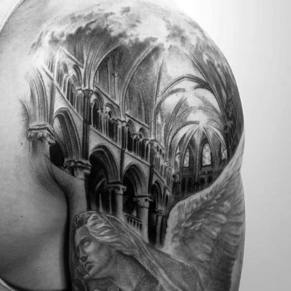 Guys Cathedral Tattoo Design Ideas On Shoulder