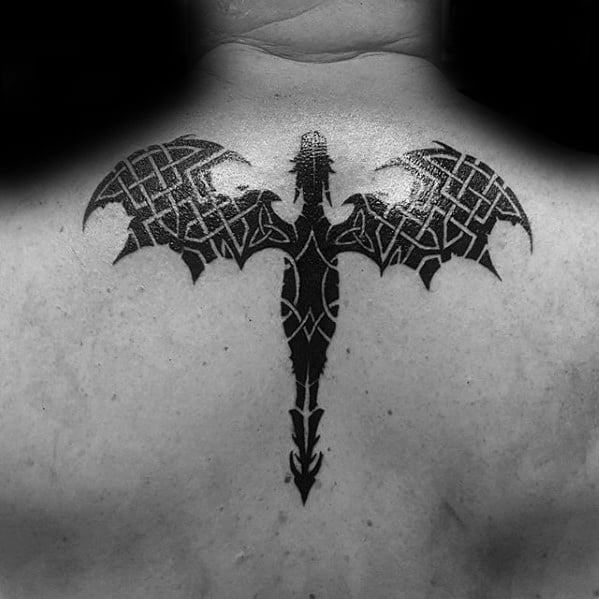 Guys Celtic Dragon Negative Space Knots Black Ink Upper Back Tattoo