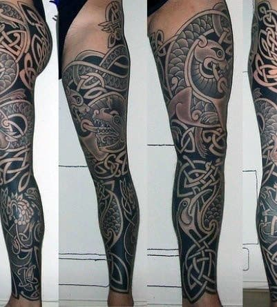 Guys Celtic Inspired Full Leg Sleeve Tattoo Designs