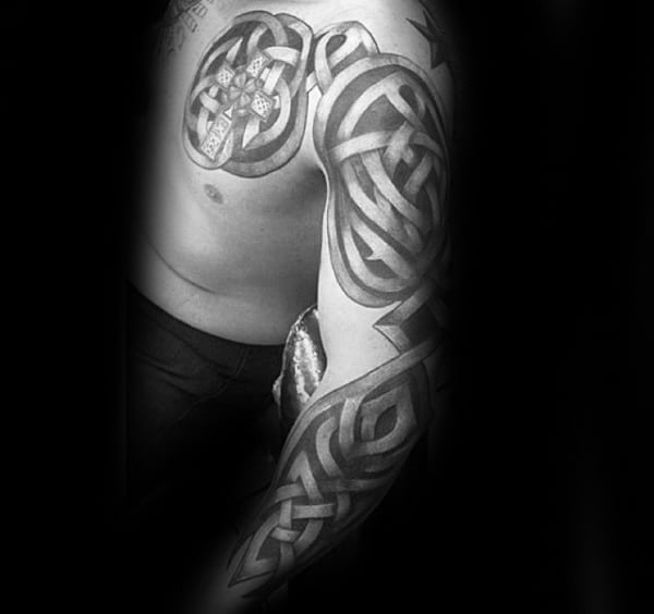 Guys Celtic Knot Cool Full Arm Tattoos