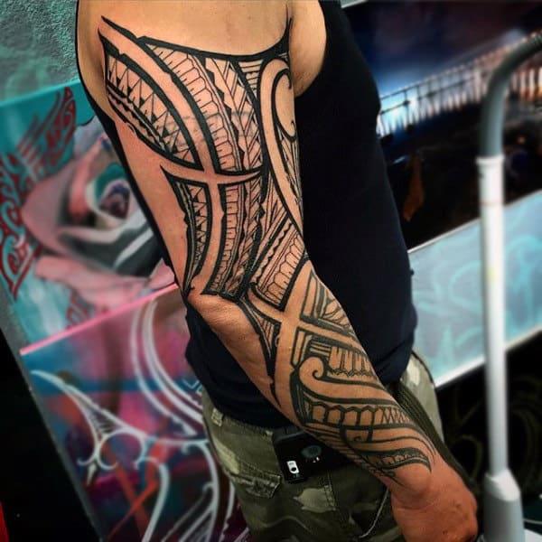 Guys Celtic Tribal Sleeve Tattoos