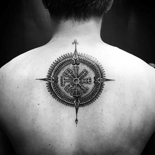 Guys Celtic Viking Compass Upper Back Tattoo