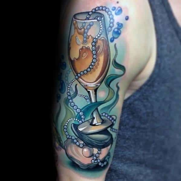 Guys Champagne Tattoo Design Ideas