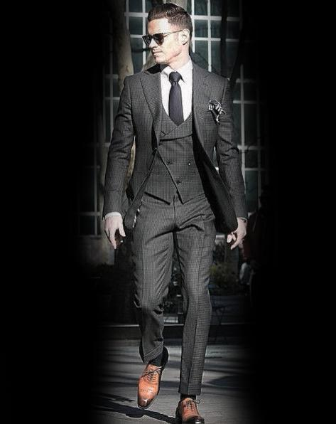 Guys Charcoal Grey Suit Brown Shoes Style Designs