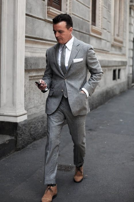 Guys Charcoal Grey Suit Brown Shoes Style Fashion Inspiration