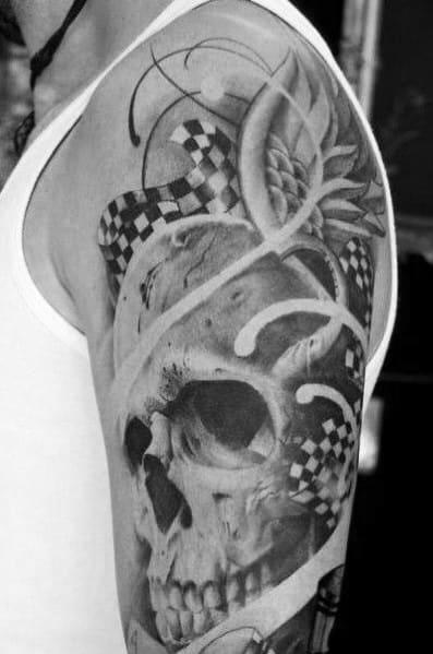 Guys Checkered Flag Tattoo Design Ideas