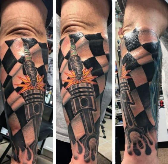 Guys Checkered Flag Tattoos
