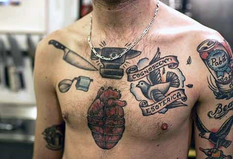 Guys Chef Knife Old School Chest Tattoos