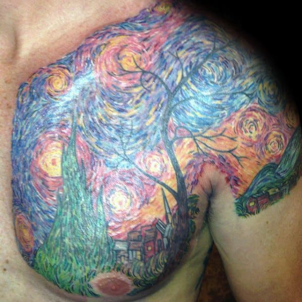 Guys Chest And Shoulder Vincent Van Gogh Painting Tattoos