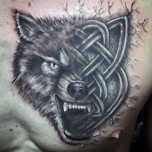 Guys Chest Black And White One Eyed Beast With Cracks Tattoo