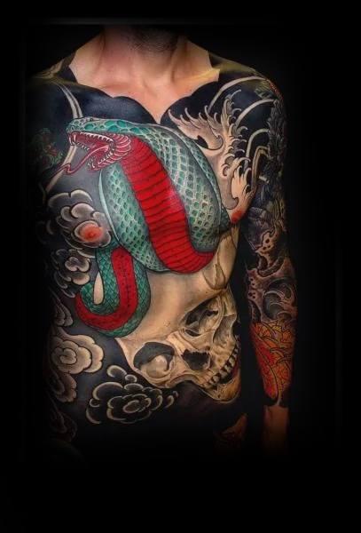 Guys Chest Cobra Japanese Snake Tattoos Ideas