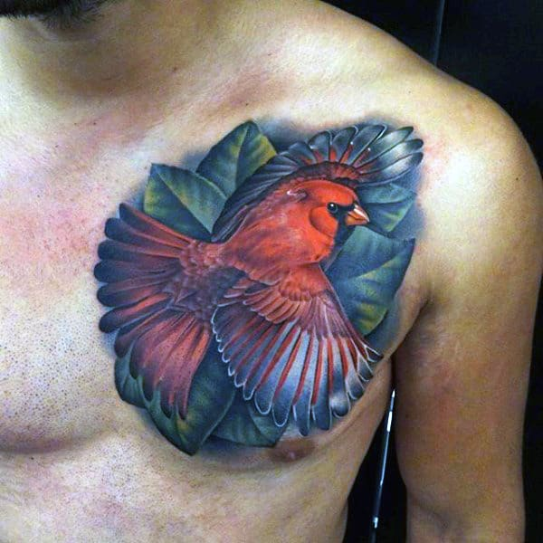 Guys Chest Cool Lovely Colored Bird Tattoo
