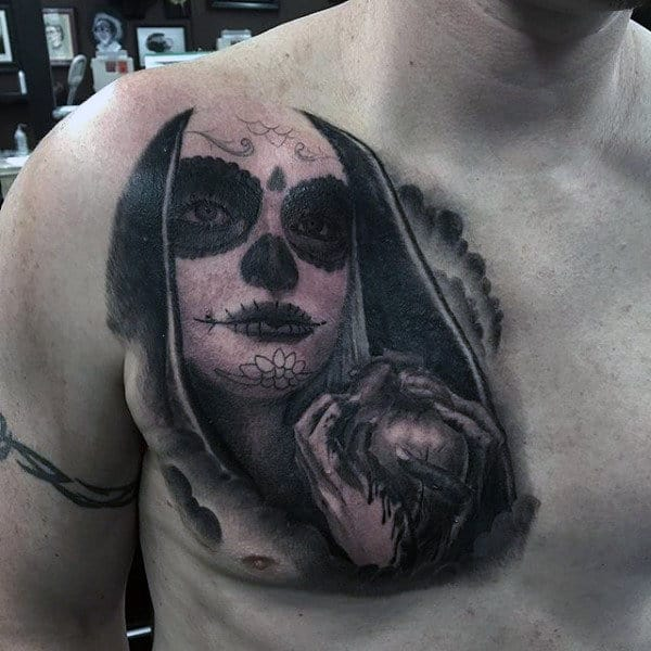 Guys Chest Day Of The Dead Tattoo With Female Holding Heart