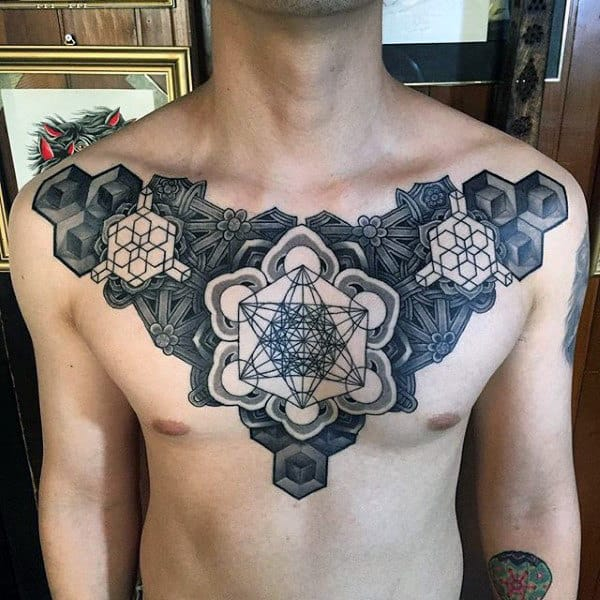 Guys Chest Geometric Pattern Tattoo