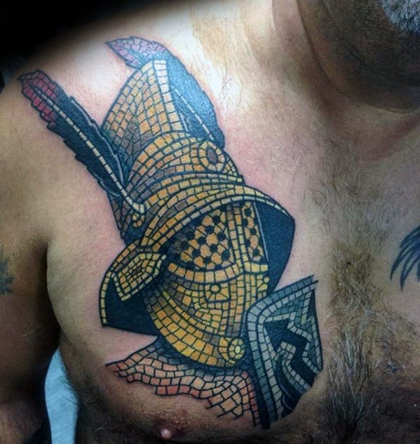 Guys Chest Knight Helmet Tattoo Ideas Mosaic Designs