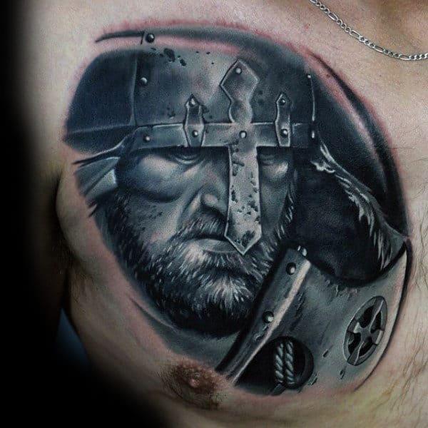 Guys Chest Lovely Black And White Viking Tattoo