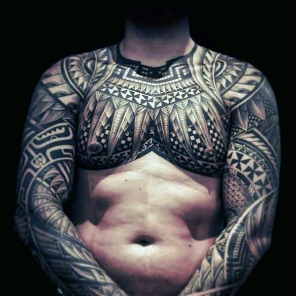 Guys Chest Polynesian Tattoo Ideas