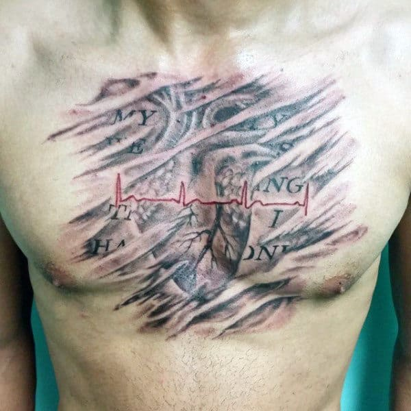Guys Chest Red Heartbeat Tattoo On Stormy Backdrop