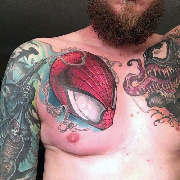 Guys Chest Spider Man Tattoo
