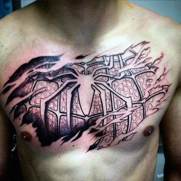 Guys Chest Spiderman Tattoo