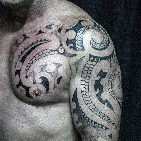 Guys Chest Tribal Tattoo