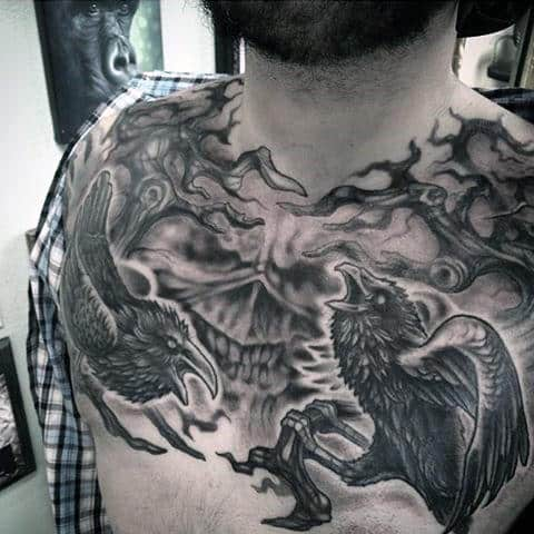 Guys Chest Violent Ravens Tattoo