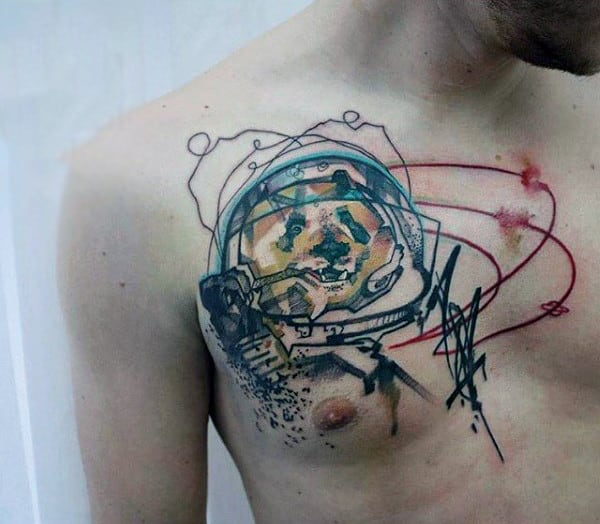 Guys Chest Watercolor Tattoo