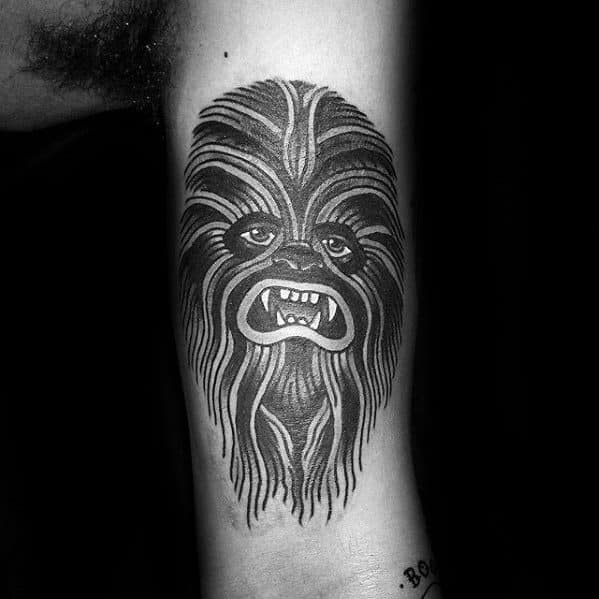 Guys Chewbacca Retro Traditional Arm Tattoos