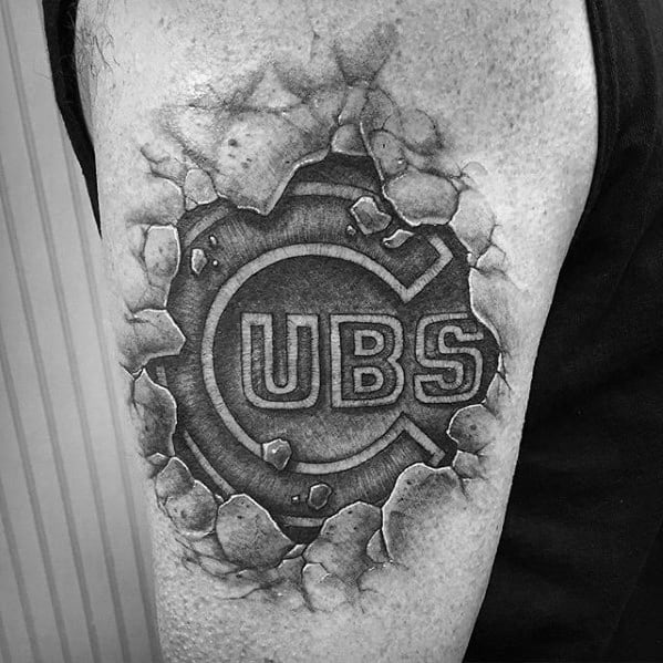 Guys Chicago Cubs 3d Stone Patch Arm Tattoos Ideas