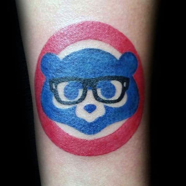 Guys Chicago Cubs Bear Simple Red And Blue Ink Forearm Tattoo