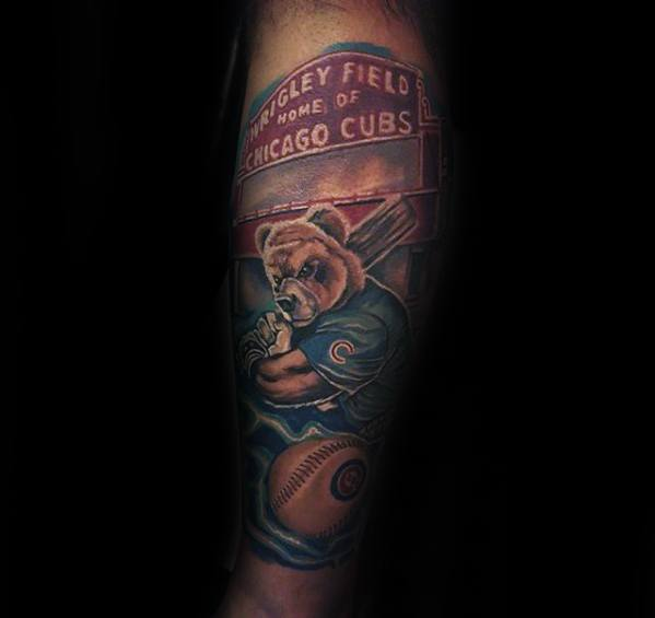 Guys Chicago Cubs Tattoo Design Ideas Forearm Sleeve