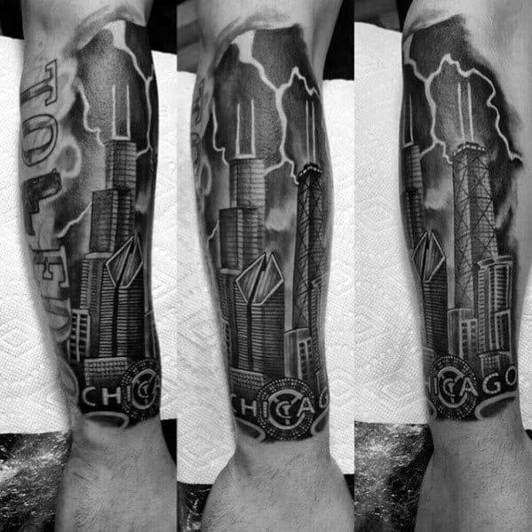 Guys Chicago Skyline Forearm Sleeve Tattoos