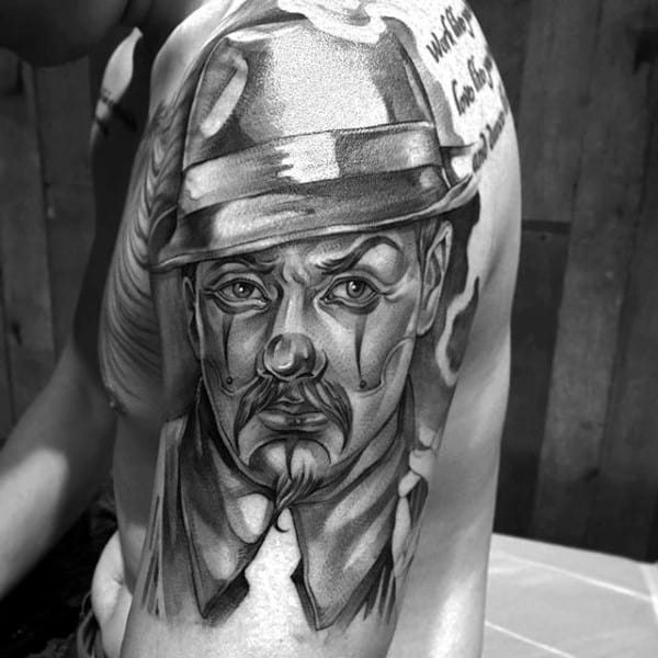Guys Chicano Portrait Of Male Wearing Hat Arm Tattoo