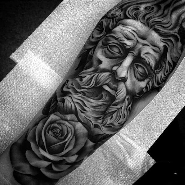 Guys Chicano Rose Flower Socrates Tattoo Sleeve Designs