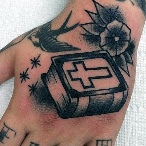 Guys Christian Bible Tattoo On Hands