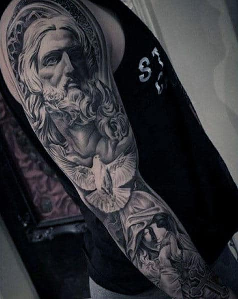 Guys Christian Themed Jesus And Dove Full Sleeve Tattoo Ideas